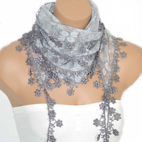 Light Grey Lacy Edge Scarf-Floral Print-Women Cowl-Headband-2012 Fashion-Turkish Traditional Scarf