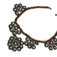Jewelry Turquaz and Brown crochet necklace for the Christmas