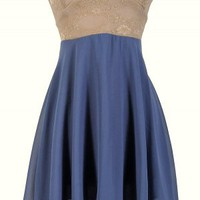 Beige and Blue Strapless Dress with Floral Lace Top