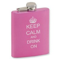 7oz Pink Stainless Steel Hip Flask Keep Calm and Drink On: Amazon.com: Kitchen &amp; Dining