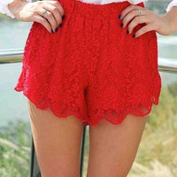 Red High Waisted Floral Lace Shorts with Scalloped Hem