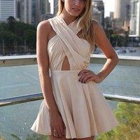Beige Criss Cross Mini Skater Dress with Pleated Skirt