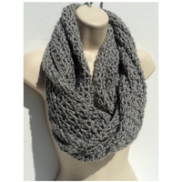 CROCHET PATTERN ONLY - 3 Patterns in 1 - Simple Elegance - Mobius Infinity Scarf, Neck Scarf and Shawl - grey view