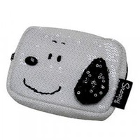Peanuts Snoopy Sequin Coin Bag Cosmetic Pouch Square Face