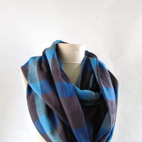 Plaid scarf/wool fabric/  Infinity scarf,Loop scarf / Circle Scarf Gift  Scarves-asuhan winter scarf