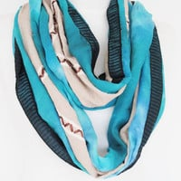 Blue / Beige Elegance Embroidered Infinity Style Scarf, Gift For Her