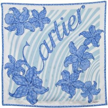 Cartier blue floral, zebra stripe, and logo print silk scarf | BLUEFLY up to 70% off designer brands