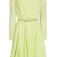 Oscar de la Renta|Pleated silk-chiffon dress|NET-A-PORTER.COM