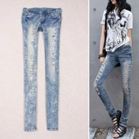 Slim Snow Style Long Scratch Embellished Light Blue Feet Elastic Jeans For Women  - Sammydress.com