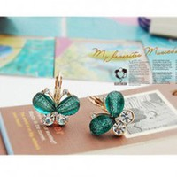 Korea Fashion Sweet Girl Rhinestone Embellished Butterfly Shape Earrings China Wholesale - Sammydress.com