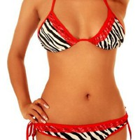 Amazon.com: Cloris Murphy String Bikini w/Red Flat Lace Trim Scrunchie Butt Bathing Suit BN82ZBWT One Size Zebra: Clothing
