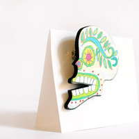 Sugar Skull Pin, Decorated Day of the Dead Skeleton Brooch with Green and Blue Wood Pinback button