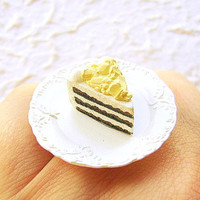 White Chocolate Cake Ring Kawaii Food Jewelry by SouZouCreations