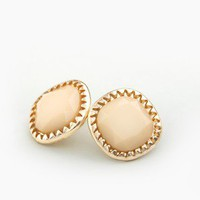 Candy Button Stud Earrings in Nude @ FrockCandy.com