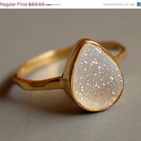 BOXING DAY SALE Gemstone Ring - Druzy Ring - White Agate Druzy - Teardrop Shape - Stacking Ring