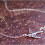 SIDEWAYS Bird Necklace -STERLING SILVER Chain- Simple, Classic, Everyday Wear Jewelry 'Freedom' by RevelleRoseJewelry