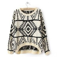Beige Long Sleeve Geometric Pullovers Sweater FS22 from Fashion Accessories Store