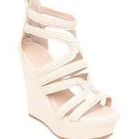 A&#x27;GACI Kingsley 04 Braid Trim PU Strappy Platform Wedge - New Arrivals
