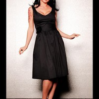 First Class V-Neck Dress with Full Skirt and Velvet Flower Belt | Pinup Girl Clothing
