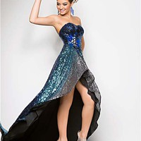 Blue Ombre Sequin Strapless Low Back Prom Dress - Unique Vintage - Cocktail, Pinup, Holiday &amp; Prom Dresses.