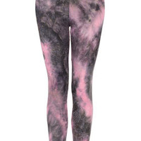 Marble Tie Dye Studded Leggings - Leggings  - Clothing