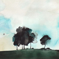 20 off SALE  Watercolor Landscape Print  Tree by MaiAutumn on Etsy