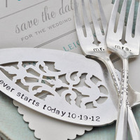 Mr &amp; Mrs WEDDING Cake forks with Forever Starts by jessicaNdesigns
