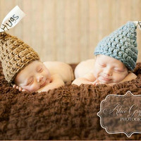 Hugs and kisses hat, twin hats, twin crochet hats, boy hat, girl hat, gnome hat, newborn twin hats, photography prop