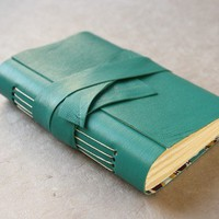 Teal Leather Journal or Sketchbook by KarleighJae on Etsy