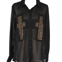 Black Studded Sheer Cross Blouse
