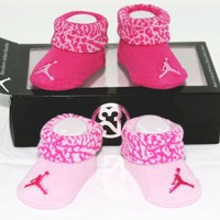 Nike Air Jordan 2 Pairs Newborn Infant Baby Girl Booties Socks Pink w/Air Jordan Logo Size 0-6 Mont