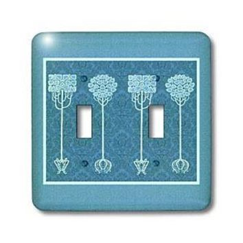 Amazon.com: Jaclinart Fantasy Vintage Nouveau Trees Nature Damask - Blue trees on Caribbean blue damask background - Light Switch Covers - double toggle switch: Home Improvement
