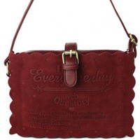 Velvet Biscuit Crossbody Bag in Oxblood - New Arrivals - Retro, Indie and Unique Fashion