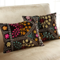 Bold Embroidery Velvet Pillow - Horchow