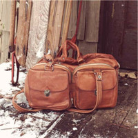 Vintage 70&#x27;s Rust Leather Bag, Rugged Vintage Bags &amp; Totes