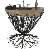 "Amazon.com: Embracious Aspen Forest Iron Sink Pedestal with Integrated Boulder Sink Finish: Silver Shimmer, Sink Size: 33""- 40"": Home Improvement"