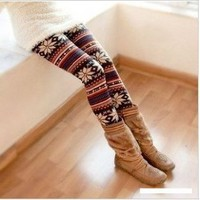 Multi-Colored Women's Soft Knitted Stripe Snowflakes Leggings Tights Gift W011