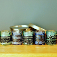 Set of Three Moroccan Inspired Mini Jar Candles- Blue Glass with Black Lace Detailing