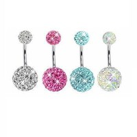 4 Pieces Belly Ring Crystal Ball Double Gem Clear, Pink, Aquamarine and Opal Crystal Belly Bling Rings Piercing with 1 Belly Retainer 14G (1.6mm)