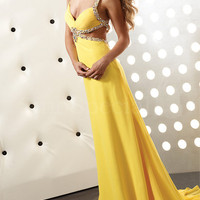 Alluring Straps Hollow-out Sweep Train Chiffon Prom Dress  from SinoSpecial