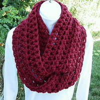 INFINITY LOOP SCARF Dark Red/Cranberry Handmade Crochet Wool/Acrylic Cowl Winter