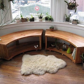 Curved Bay Window Bench Recycled Douglas Fir by jeremiahcollection