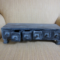 Vintage Jewelry Box Grey Washed Wood on Chunky by TooArtfulForYou