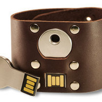 Steam Punk leather cuff 4 Gb Usb Brown by oopsmark on Etsy