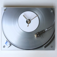 Silver Ice Vinyl Record Clock by blueorder on Etsy