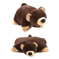 MY PILLOW PETS  My Plush Pillow Pet Large 18'' Square Mr. Black Bear Plush Pillow