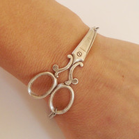 Steampunk Scissor Bracelet Antique Silver Ox by bellamantra