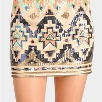 Risky Business Sequin Skirt - Beige