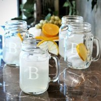 Old South Personalized Glass Drinking Jars, Set of 4