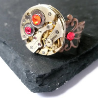 Steampunk Ring - READY TO SHIP Steam Punk Watch clockwork Adjustable filigree Jewelry Siam red Hyacinth Orange  Swarovski
